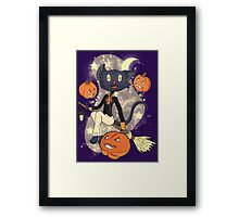 Halloween Cat On A Broomstick Framed Print