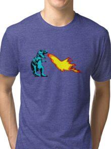 Dinosaur - Cyan Tri-blend T-Shirt