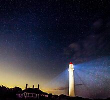 Aireys Inlet Light Beams by Russell Charters