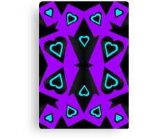 Hearts in Black Turquoise and Purple Var 4 Canvas Print
