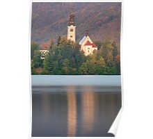 Sunrise over Lake Bled and the island church Poster