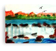 Big waterfall, watercolor Canvas Print