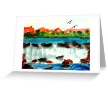 Big waterfall, watercolor Greeting Card