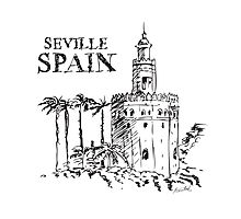 The Torre de Oro naval tower in Seville, Spain. Photographic Print