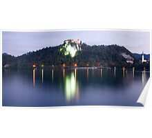 Lake Bled castle at dawn Poster
