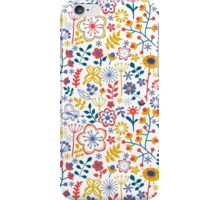 Colorful Retro Floral Pattern White Background iPhone Case/Skin