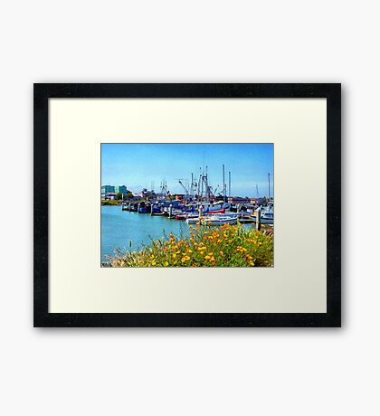 Boat Docks in Humboldt Bay Framed Print