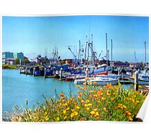 Boat Docks in Humboldt Bay Poster