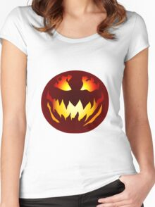 Scary Jack O' Lantern Women's Fitted Scoop T-Shirt