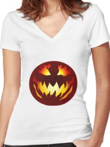 Scary Jack O' Lantern Women's Fitted V-Neck T-Shirt