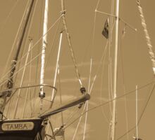 Sail boats in harbour Sticker