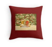 A HOLIDAY BENCH Throw Pillow