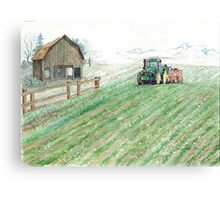 Tractor, Barn & Snow Canvas Print