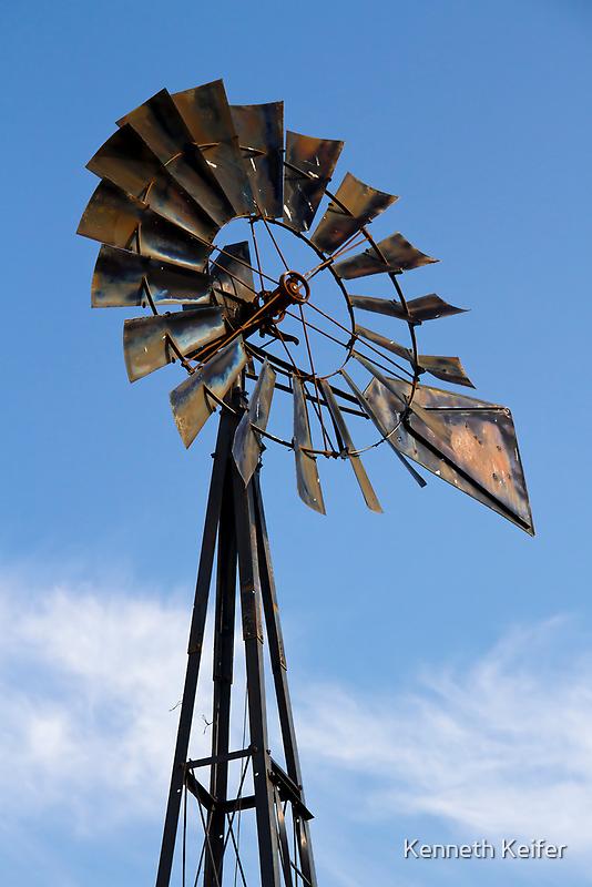 Tall Vintage Midwestern Windmill by Kenneth Keifer
