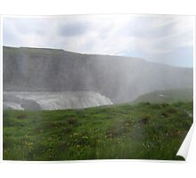Gullfoss waterfall with spray in Iceland Poster