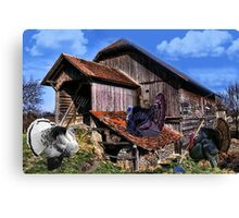 *´¯`♥ღTURKEYS WORKING DOWN NEAR THE BARN BABY TURKEYS PLAYING*´¯`♥ღ Canvas Print