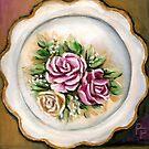 Pink Flower Plate by Pamela Plante