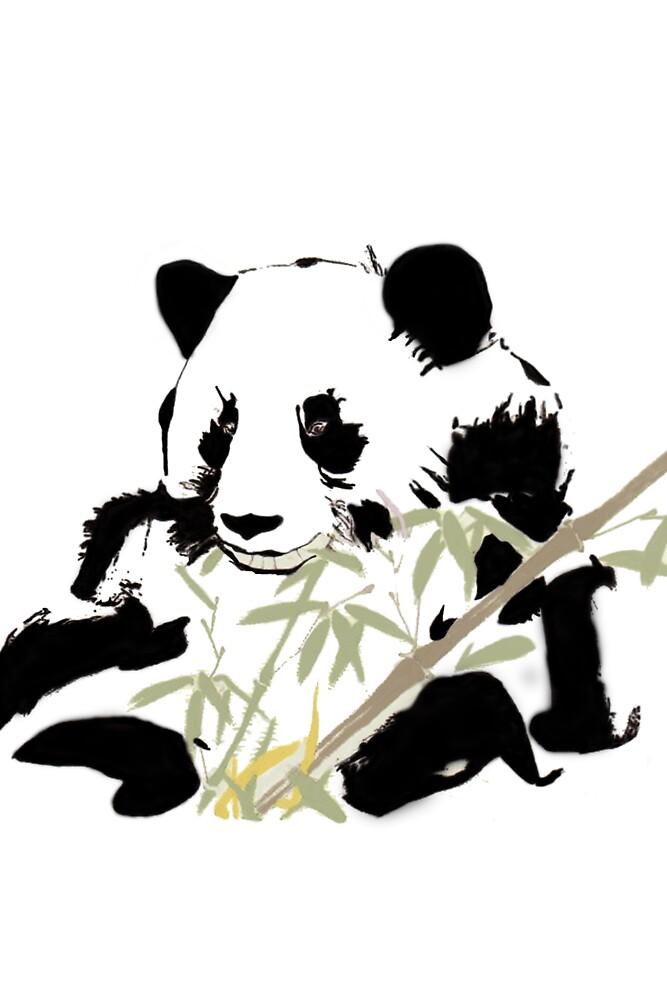 Giant Panda (Ailuropoda melanoleuca) (Chinese brush art) by Terry Bailey