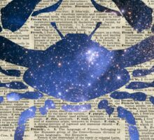 Cancer Crab Zodiac Sign,Space Stencil Collage over old Encyclopedia Page Sticker