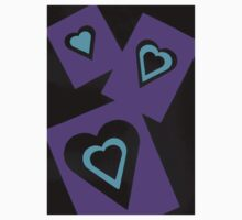Hearts in Black Turquoise and Purple Var 4 Alternate Options One Piece - Short Sleeve