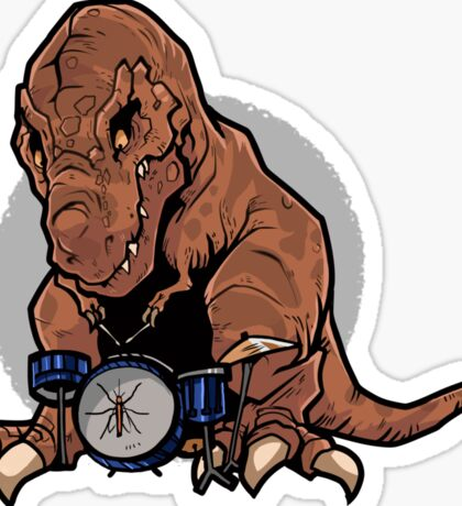 T-Rex playing the Drums Sticker