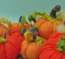 Halloween pumpkins - Handmade felted creation from Teddy Bear Orphans Sticker