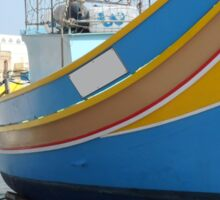 Striped Fishing Boat in Marsaxlokk Harbour Sticker