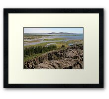 Tectonic plate boundaries of the Mid-Atlantic Ridge in Thingellir National Park at Parliament, Iceland Framed Print