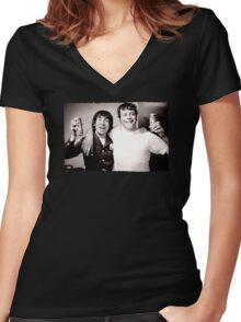 Keith Moon with Oliver Reed the who funny drunk legends mens t shirt Women's Fitted V-Neck T-Shirt
