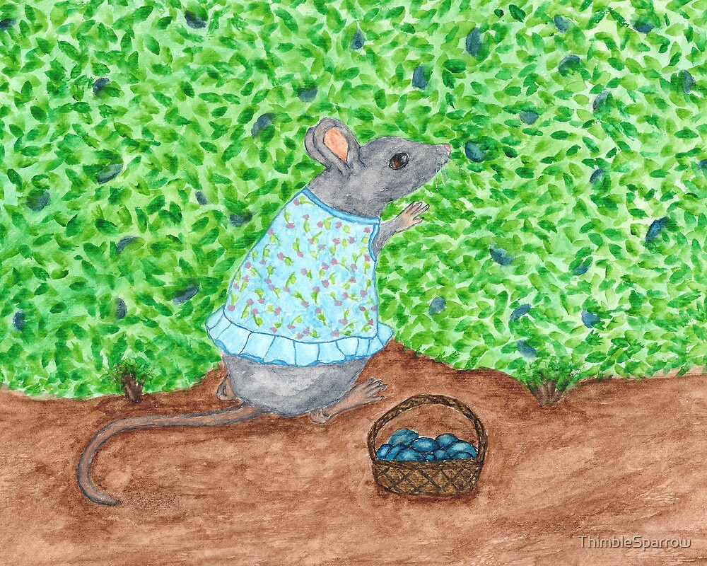 Watercolor Grey Mouse by ThimbleSparrow