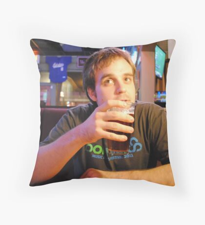 Beer Thinker Throw Pillow