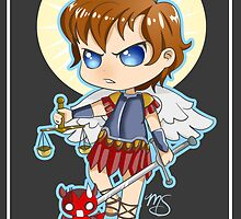 Chibi St. Michael Saint Card by Megasha