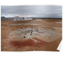 lava fields Lamorscad area, Hverir mud flats Iceland Poster