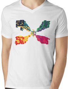 3D geometrics Mens V-Neck T-Shirt