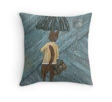 Cat In The Rain Throw Pillow