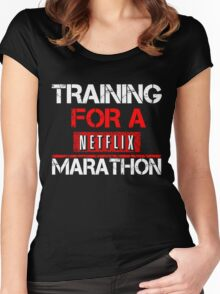 TRAINING FOR A NETFLIX MARATHON - Saiyan Style Black Women's Fitted Scoop T-Shirt