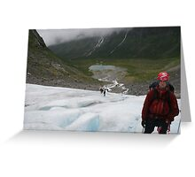 Walking on ice, glacier Olden Norway. Greeting Card