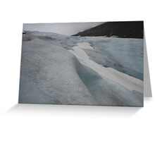 Blue white and ash coloured glacier, Norway Greeting Card
