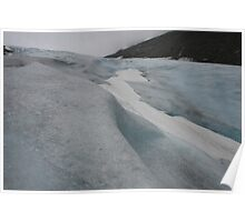 Blue white and ash coloured glacier, Norway Poster