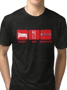 EAT SLEEP MARATHON - NETFLIX Tri-blend T-Shirt