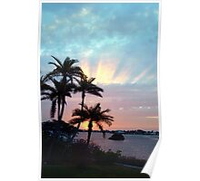 Rays rising above Poster