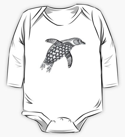Black & White Penguin One Piece - Long Sleeve