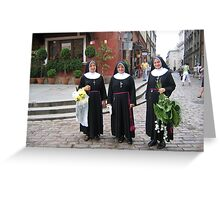 Nuns with flowers. Greeting Card