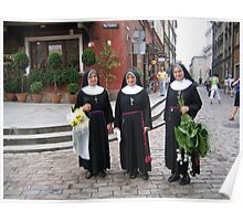 Nuns with flowers. Poster