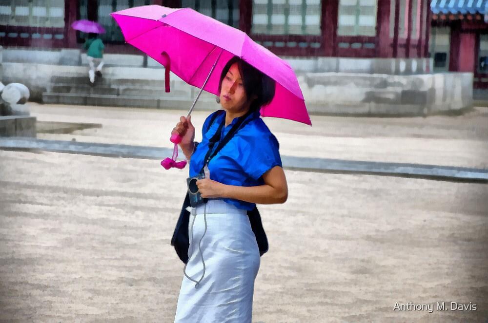 Korean Woman in the Rain by Anthony M. Davis