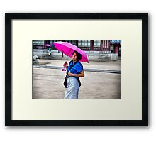 Korean Woman in the Rain Framed Print