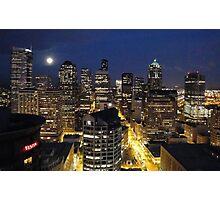 Moonlit Seattle Skyline  Photographic Print
