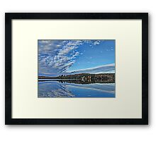 Fall Autumn Trees, Clouds & Blue Sky Reflecting on Lake w/ Gull Flying over Water Framed Print