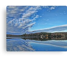 Fall Autumn Trees, Clouds & Blue Sky Reflecting on Lake w/ Gull Flying over Water Canvas Print