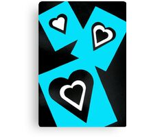 Hearts in Black Turquoise and White No Text Canvas Print